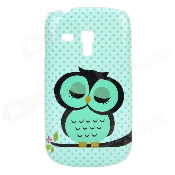 Cute Owl Style Protective Plastic Back Case for Samsung Galaxy S3 Mini i8190 - Green cute owl pattern protective silicone back case for samsung galaxy s5 light green black