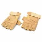 Outdoor Tactical Windproof Half-Finger Gloves - Khaki (Size L)