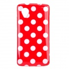 Polka Dot Style Protective Silicone Back Case for LG Nexus 5 - Red + White