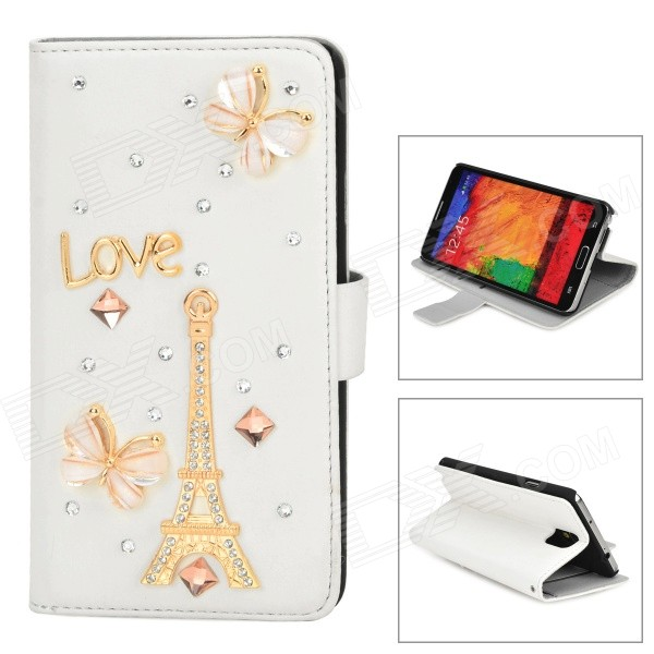 Rhinestone Eiffel Tower Style Protective PU Leather Case for Samsung Galaxy Note 3 N9000 - White alligator pattern protective flip open pu leather case for samsung galaxy note 3 n9000 white