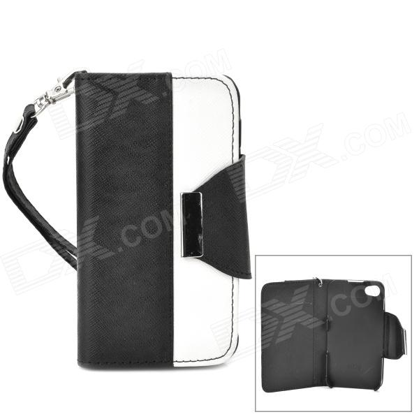 Stylish Protective PU Leather + Plastic Case for Iphone 4 / 4s - White + Black remax protective flip open pu leather case w visual window for iphone 4 4s white