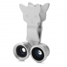 LX-U005 Clip-On 3-in-1 Wide Angle + Macro + Fish Eye Lens for Iphone / Samsung / HTC - Silver