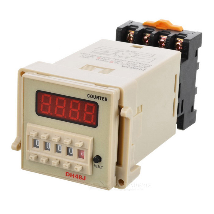 DH48J Digital Counter Relay - Grey + Black + Transparent ac380v panel mount 8p 1 999900 count range digital counter relay dh48j dpdt