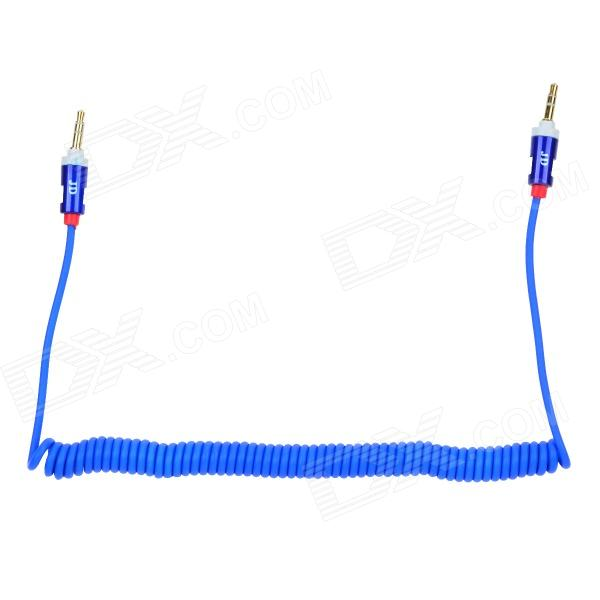 Universal 3.5mm Jack Male to Male Spring Extension Audio Cable - Blue + Red (165cm)