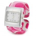 Fashion Bracelet Style PU Band Square Dial Wrist Watch for Women - Pink + Silver (1 x SR626SW)