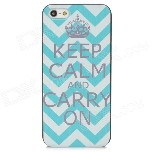 Stripe Pattern Protective PC Back Case for Iphone 5 / 5s - White + Blue cute girl pattern protective rhinestone decoration back case for iphone 5 light pink light blue