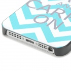 Stripe Pattern Protective PC Back Case for Iphone 5 / 5s - White + Blue