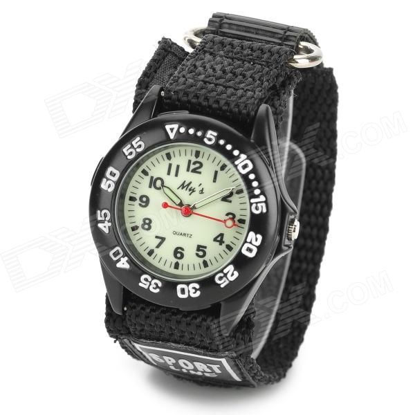 Sports Velcro Nylon Band Glow-in-the-Dark Quartz Wrist Watch - Black (1 x SR626SW)