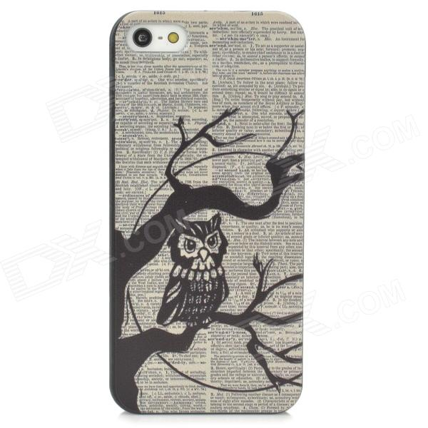 Owl Pattern Protective PC Back Case for Iphone 5 / Iphone 5S - Black + Off-White