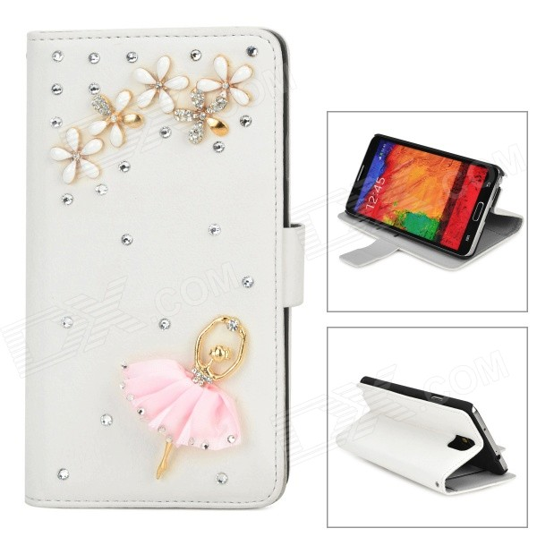Ballerina Style Protective Rhinestone PU Leather Case for Samsung Galaxy Note 3 N9000 - White alligator pattern protective flip open pu leather case for samsung galaxy note 3 n9000 white