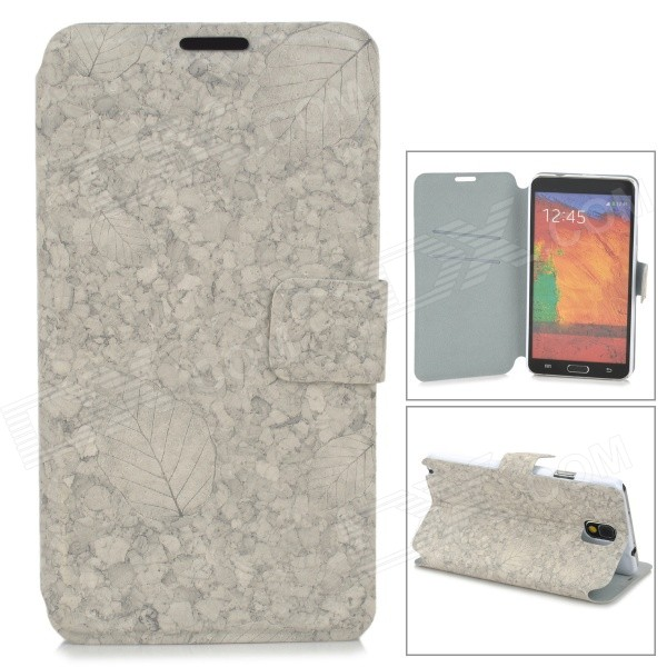 Leaf Pattern Protective Flip Open PU Leather Case w/ Stand / Card Slots for Samsung Note 3 N9000 protective flip open pu case w stand card slots strap for samsung galaxy note 3 n9000 white