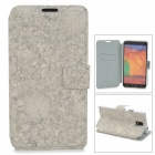 Leaf Pattern Protective Flip Open PU Leather Case w/ Stand / Card Slots for Samsung Note 3 N9000