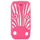 Cute Cartoon Zebra Style Protective Silione Back Case for Iphone 5 / 5c / 5s - Deep Pink + White