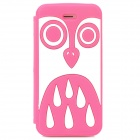 Cute Cartoon Owl Style Protective Silione Back Case for Iphone 5 / 5c / 5s - Deep Pink + White