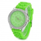 Fashion Silicone Band Crystal Round Dial Quartz Watch - Green (1 x SR626SW)