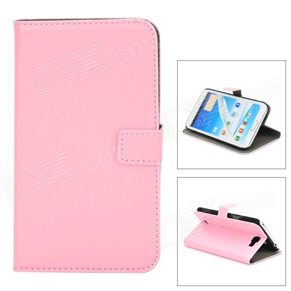 Protective PU Leather Case for Samsung Galaxy Note 2 N7100 - Pink metal ring holder combo phone bag luxury shockproof case for samsung galaxy note 8