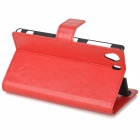 a-336 Protective Flip Open PU Leather Case w/ Stand / Card Slots for Sony Xperia Z1 L39h - Red