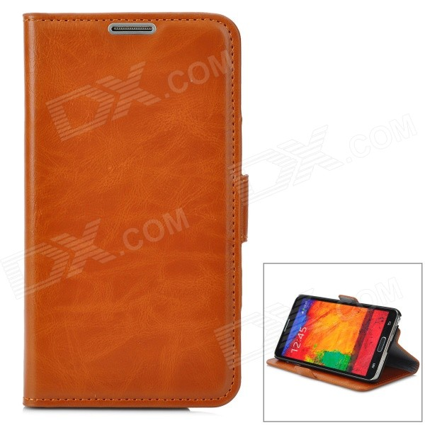Simple Plain Flip-open PU Leather Case w/ Holder + Card Slot for Samsung NOTE 3 / M9000 - Brown stylish flip open pu leather case w holder card slot for samsung note 3 black