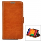 Simple Plain Flip-open PU Leather Case w/ Holder + Card Slot for Samsung NOTE 3 / M9000 - Brown