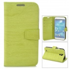 Protective Tree Grain PU Leather Case w/ Card Slot for Samsung Galaxy S4 i9500 - Green