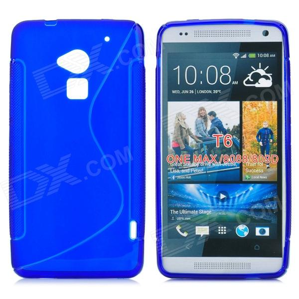 Stylish S Pattern Protective TPU Back Case for HTC One Max / T6 / 8088 / 809D - Blue stylish bubble pattern protective silicone abs back case front frame case for iphone 4 4s