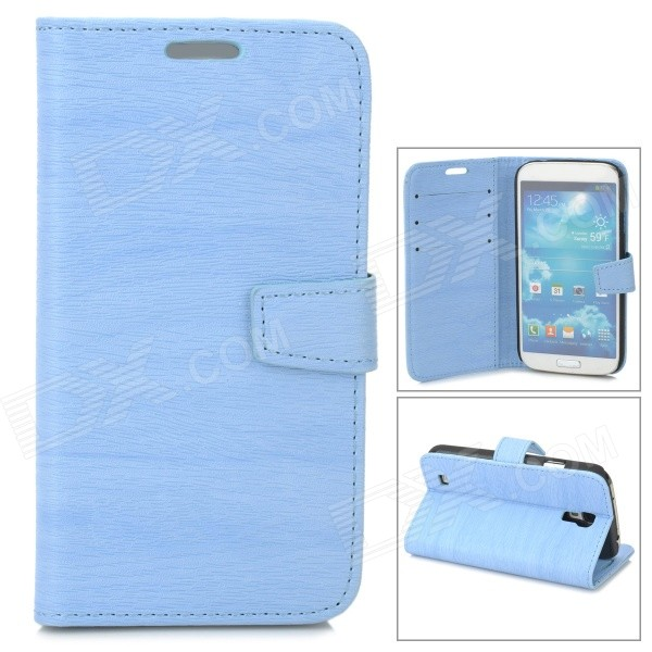 Protective Tree Grain PU Leather Case w/ Card Slot for Samsung Galaxy S4 i9500 - Blue cm001 3d skeleton pattern protective plastic back case for samsung galaxy s4