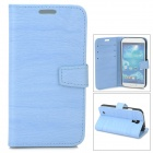 Protective Tree Grain PU Leather Case w/ Card Slot for Samsung Galaxy S4 i9500 - Blue