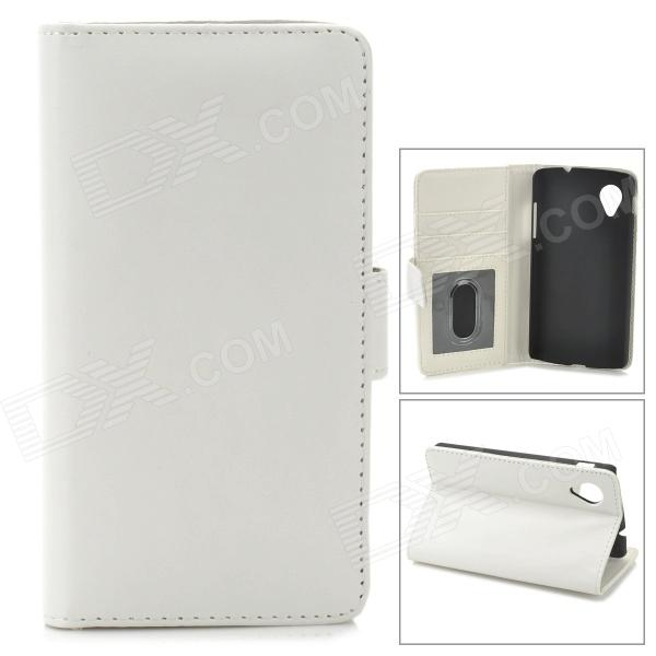Protective PU Leather Case w/ Photo Frame for LG Nexus 5 - White