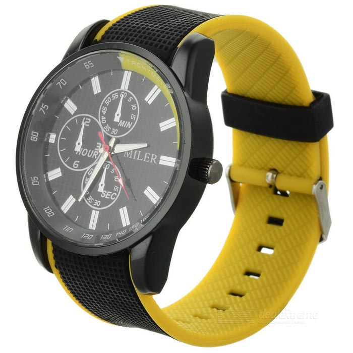 11703 Casual Style PVC Band Round Dial Quartz Wrist Watch - Black + Yellow (1 x SR626SW)