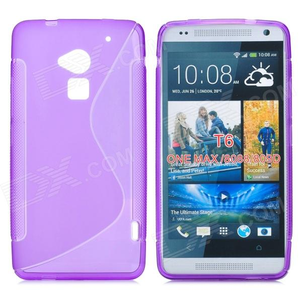 Stylish S Pattern Protective TPU Back Case for HTC One Max / T6 / 8088 / 809D - Purple stylish bubble pattern protective silicone abs back case front frame case for iphone 4 4s