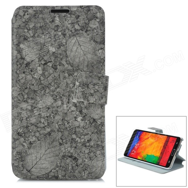 Leaf Pattern Flip-open PU Leather Case Case w/ Holder + Card Slot for Samsung NOTE 3 / M9000 - Grey stylish flip open pu leather case w holder card slot for samsung note 3 black