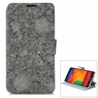 Leaf Pattern Flip-open PU Leather Case Case w/ Holder + Card Slot for Samsung NOTE 3 / M9000 - Grey
