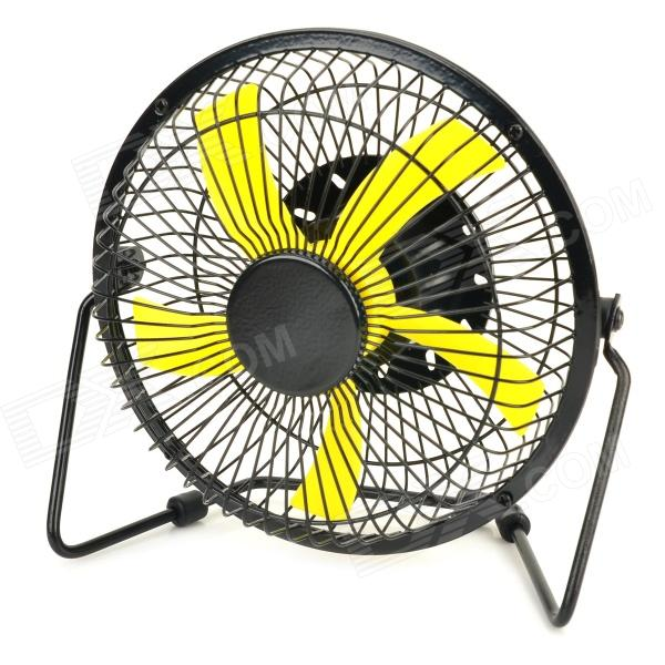 Lileng 819 USB Rechargeable 5-Blade 2-Mode Fan - Black + Yellow