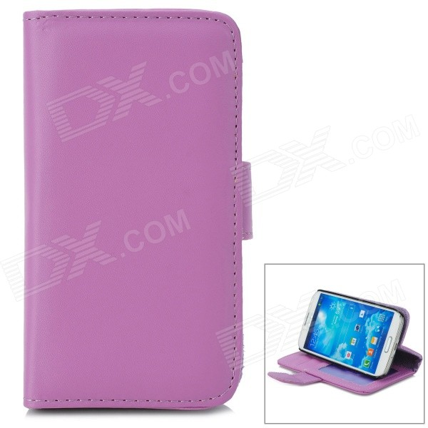 Stylish Flip-open PU Leather Case w/ Card Slot + Holder for Samsung Galaxy S4 i9500 - Purple