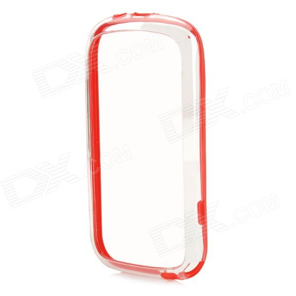 TPU Bumper Frame w/ Protective Film for Samsung Galaxy S3 Mini i8190 - Red + Transparent and22 protective plastic bumper case for samsung galaxy s3 mini i8190 white transparent