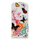 a-336 Flying Butterfly Pattern PU Leather Case for Samsung Galaxy S4 Mini i9190 - Multicolored