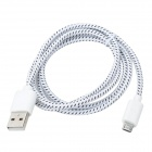 USB 2.0 to Micro USB Sync Data Woven Nylon Cable for Samsung Galaxy Tab 3 P5200 / P5210 - White