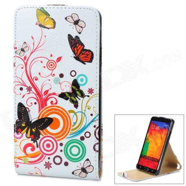 A-336 Stylish Patterned Flip-open PU Leather Case for Samsung Galaxy Note 3 - White + Multicolored universal car swivel rotating mount holder w suction cup for samsung n7100 black