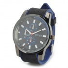 11703 Casual Style PVC Band Round Dial Quartz Wrist Watch - Black + Blue (1 x SR626SW)