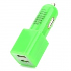 Dual USB 5V 2100mA Car Charger w/ USB 3.0 Cable for Samsung Galaxy Note 3 - Green (12~24V)