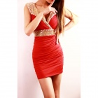 Fashion V Neck Milk Silk Dress Tight Skirt - Red