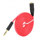 Universal 3.5mm Jack Male to Female Audio Extension Flat Cable for Earphone - Red + Black (150cm)