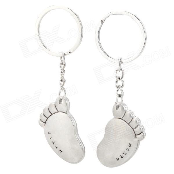 Cute Foot Shaped Zinc Alloy Keychain for Lovers - Silver
