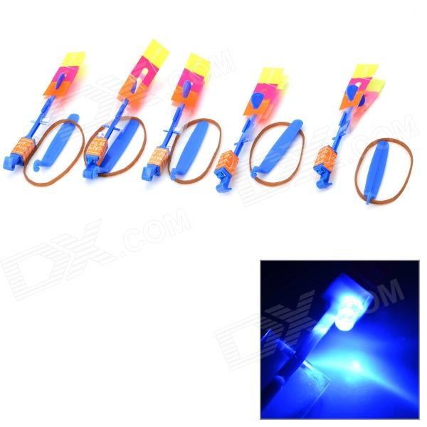 LED Slingshot Toy Night Flyer Arrow Helicopter w/ Rubber Band (5PCS)Other Toys<br>Form  ColorYellowish Brown + Blue + Multi-ColoredMaterialPlasticQuantity1 DX.PCM.Model.AttributeModel.UnitSuitable Age 3-4 years,8-11 yearsPacking List5 x Arrow helicopters<br>