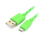 USB to Micro USB Sync Data Woven Nylon Cable for Samsung Tab - Green