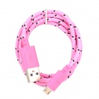 USB 2.0 to Micro USB Sync Data Woven Nylon Cable for Samsung Galaxy Tab 3 P5200 / P5210 - Pink