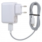 USB EU Plug Power Adapter + USB Charging Data Cable for Amazon Kindle Fire / Paperwhite - White