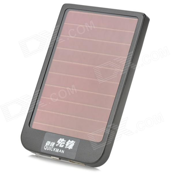 A-1 Solar Powered Portable External Aluminum Alloy ''2600mAh'' Power Bank w/ LED Indicator - Black a5 2600mah portable rechargeable mobile power bank for cellphone mp3 mp4 gps pink
