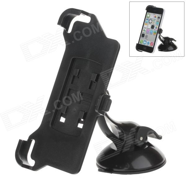 H60 360 Degree Rotation Holder Mount Bracket w/ Suction Cup for Iphone 5C - Black h08 360 rotation 4 port suction cup holder w silicone back clip for iphone 4 4s 5 ipad mini ipod