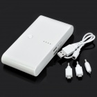 "Dual-Output ""20000mAh"" External Mobile Power Source Battery Pack for Iphone + More - White"